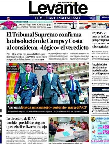 Portada del diario Levante, centrado en el relevo en la junta directiva del Valencia y en la absolución de Camps y Costa
