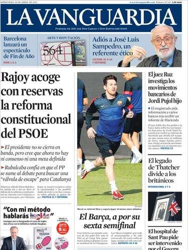 Portada de La Vanguardia con foto central sobre la previa del choque del Barça en Champions