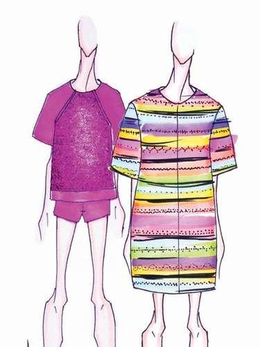 Sacada: la costura y el arte se basan en la forma y apariencia de esculturas. Las piezas son de corte recto y suelto.