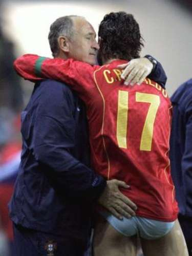 Finally, we have a curious celebration between Cristiano Ronaldo and former Portuguese national team coach Luis Felipe Scolari, hugging and grabbing the behind of the Real Madrid striker in 2008.