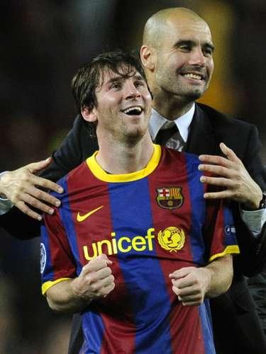 Cuando Pep Guardiola dirigía a Lionel Messi en el Barcelona compartieron muchos abrazos, pero ninguno tan particular como el de la semifinal de la Champions League ante el Real Madrid en mayo de 2011. La cara de placer de Messi lo dice todo.