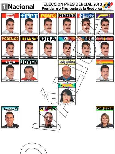 Esta es la boleta electoral que se utilizael domingo, cuando los venezolanos elijan al nuevo presidente de la República. En la jornada participan siete candidatos, entre ellos los favoritos de la justa: Nicolás Maduro (oficialismo) y Henrique Capriles Radonski (oposición).