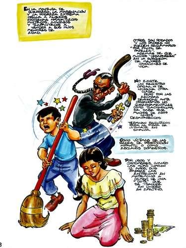 Muchas de las escenas que se dibujan en los folletos son muy parecidas a la realidad de la esclavitud sexual y la explotación laboral que muchos padecen en México.