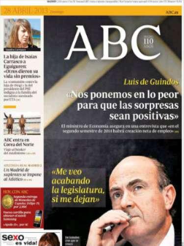 La portada del 'ABC' la abre Luis de Guindos con fotografía a todo color y titulan con sus declaraciones sobre el paro: \