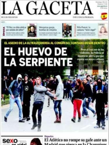 'La Gaceta' dedica su portada a las protestas en el Congreso con una imagen de unos jóvenes manifestantes y el titular \