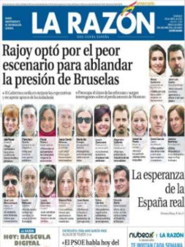 'La Razón' abre con una portada dedica a testimonios de españoles acerca del panorama económica y titula con: \