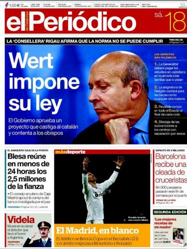 'El Periódico' abre con foto del ministro de Educación, Wert y con el titular \