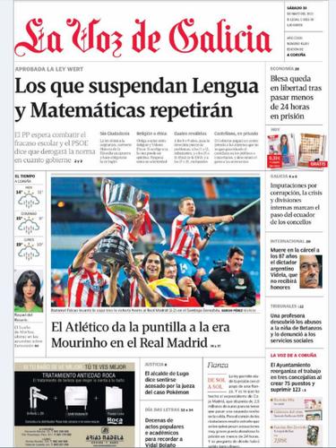 'La Voz de Galícia' también recoge la nueva ley educativa con el titular \