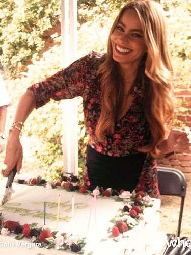 11 de Julio - Sofía Vergara compartió esta imagen partiendo su pastel de cumpleaños. ¡Qué rico!