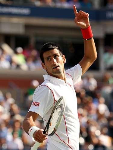 Ayuda por favor...Novak Djokovic pide que se revise con la tecnología una pelota que fue dudosa.