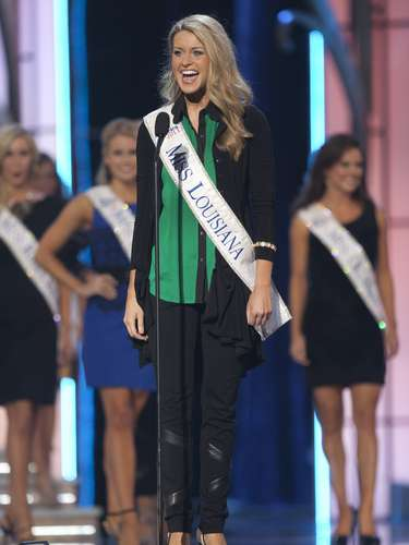 Miss America 2014 contestant, Miss Louisiana Jaden Leach speaks during the Miss America Pageant in Atlantic City, New Jersey, September 10, 2013. Miss America will be crowned during the final ceremony on Sunday, September 15.  REUTERS/Carlo Allegri (UNITED STATES - Tags: ENTERTAINMENT)