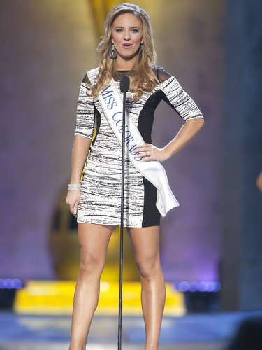 Miss America 2014 contestant, Miss Colorado Megan Kardos, competes in a preliminary round during the Miss America Pageant in Atlantic City, New Jersey, September 10, 2013. Miss America will be crowned during the final ceremony on Sunday, September 15.    REUTERS/Carlo Allegri  (UNITED STATES - Tags: ENTERTAINMENT)