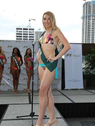 Miss Gales - Angharad James, tiene 23 años de edad, mide 1.82 metros de estura (5 ft 11 1/2 in)y reside en Cardiff.