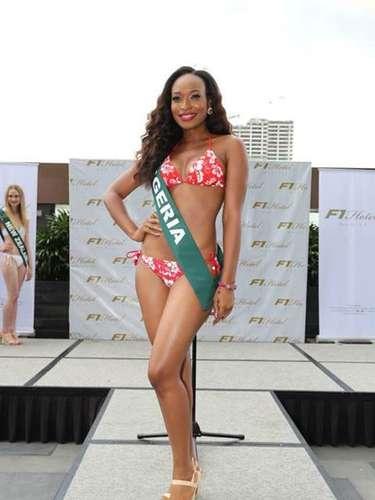 Miss Nigeria - Marie Miller, tiene 25 años de edad, mide 1.75 metros de estura (5 ft 9 in)y reside en Lagos.