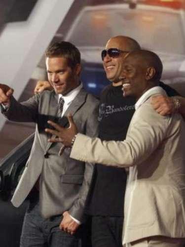 Paul Walker, Vin Diesel yTyrese Gibson en la premiere mundial de 'Fast Five'en Río de Janeiro.Abril 15 de2011.