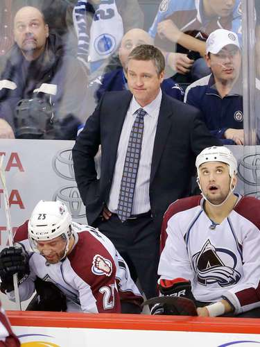 Dec 12, 2013; Winnipeg, Manitoba, CAN; Colorado Avalanche head coach Patrick Roy reacts during the second period against the Winnipeg Jets at the MTS Center. Mandatory Credit: Bruce Fedyck-USA TODAY Sports