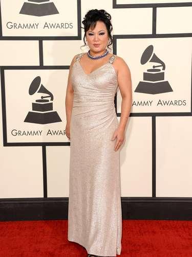 Ángela Chang apareció con este traje nude brillante. Un aceptable será suficiente para ella.