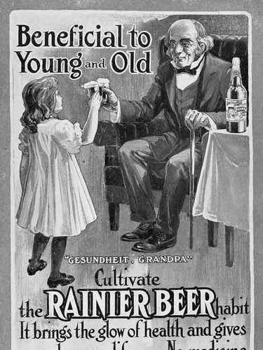El anuncio dice que esta cerveza esbuena tanto para jóvenes (o sea niños) como para ancianos. Añade que este hábito trae salud y que ninguna medicina la equipara como tónico.