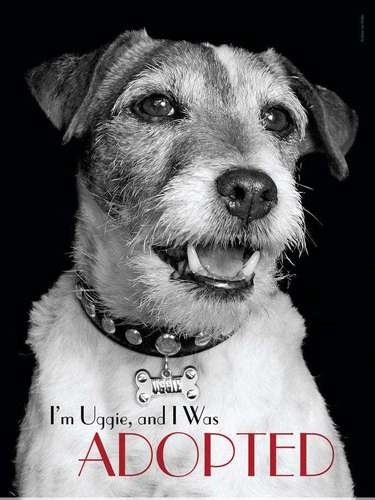 El hermoso perrito Uggie de 'The Artist' es la nueva celebridad que se une a PETA para impulsar la adopción de animales y en la cual dice: 'Soy Uggie y fui adoptado'.