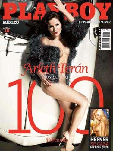 Arleth Terán celebró 100 ediciones de Playboy en México con su desnudo, lleno de glamour, en febrero de 2011.
