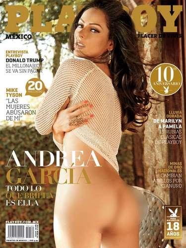 Después de varios meses de desaparecer de la televisión nacional, la actriz y conductora Andrea García reapareció al desnudo en la portada de octubre 2012 de Playboy.