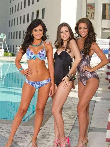 La ciudad de Las Vegas es el escenario donde las candidatas que se disputan la corona de Miss Universo hacen su primera presentación ante las cámaras en traje de baño. Aquí Miss Costa Rica 2012 (Nazareth Cascante), Miss Uruguay (Camila Vezzoso) y Miss Reino Unido (Holly Hale).