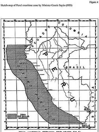 El ex Canciller peruano, Enrique García Sayán, en su libro, Notas sobre la Soberanía Marítima del Perú, adjunta un mapa en su trabajo que ratificaría la posición chilena.