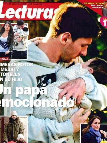 La revista catalana 'Lecturas', publicó hoy la primera imagen del hijo del Messi y la foto recorrió todas las redes sociales.  En las imágenes aparece, Messi, su hijo Thiago y Antonella Rocuzzo.