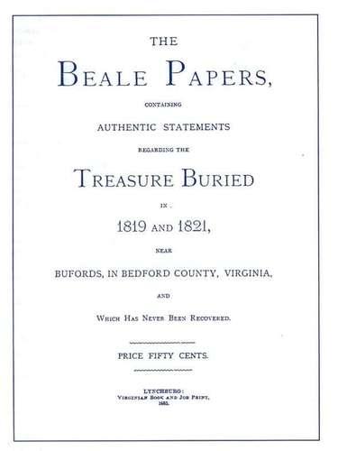 De acuerdo al panfleto, un hombre llamado Thomas Jefferson Beale descubrió un tesoro en 1816 durante una expedición al oeste norteamericano. Tras su descubrimiento este habría sido trasladado al condado de Bedford, en Virginia. La ubicación del oro fue anotada en tres criptogramas, de los cuales solo uno pudo ser descifrado, el cual únicamente describía el contenido del tesoro.