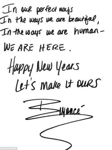 Beyonce compartió este cálido mensaje con sus seguidores para desearle feliz año nuevo