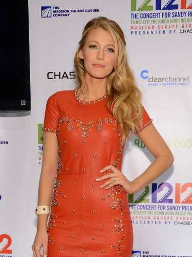 Blake Lively give honor to her last name in orange leather, steering away from the usual black.