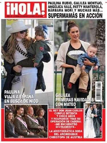 Paulina Rubio y Galilea Montijo, con sus hijos Nico y Mateo, respectivamente, son la portada de la nueva edición de la revista HOLA, que lleva por el título Supermamás en acción.
