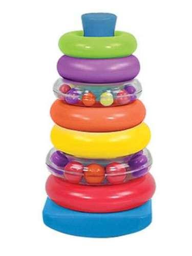 7 Piece Stacking Rings. Un juguete para apilar con anillos alrededor de los demás; un clásico para el bebé con más potencia el aprendizaje. Varios anillos superpuestos para un mayor desafío cognitivo. Siete anillos apilables llenos de sonajeros . Excelente para estimular los bebés aprenden a sentarse. Para edades de 6 meses en adelante