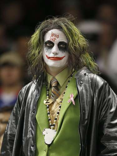 A Joker immitator shows his discontent after the game against the Carolina Panthers at the Super Dome.