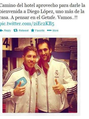 Ramos also posted a picture of himself with new teammate, goalie Diego Lopez, who joined Real Madrid from Sevilla on Friday.