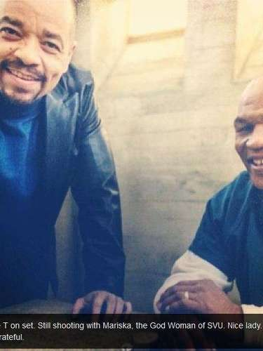 Mike Tyson took a photo of himself with Ice T on the set of Law and Order: Special Victims Unit. He will appear on an episode on February 13.