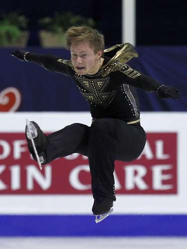 Alexander Majorov of Sweden performs during the men's free skating program at the European Figure Skating Championships in Zagreb January 26, 2013.         REUTERS/Antonio Bronic (CROATIA  - Tags: SPORT FIGURE SKATING)