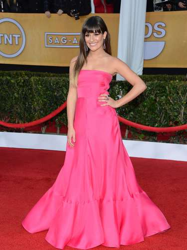 WORST. Lea Michele's Pepto Bismol pink bore us on the red carpet