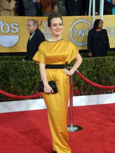WORST. Sophie McShera's bold color would've worked if the dress didn't look so ill-fitting!