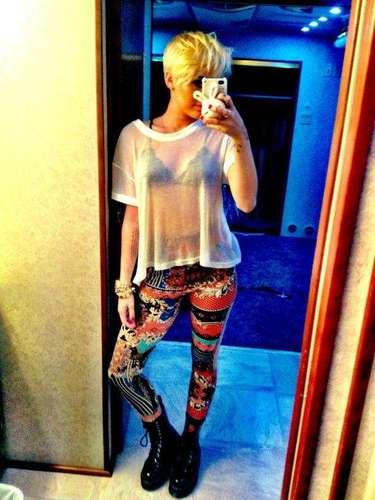 Miley sure loves her sheer tops!