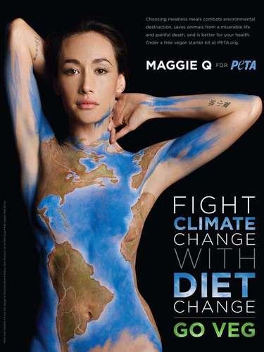 La guapa actriz Maggie Q prestó su cuerpo como lienzo para PETA y anima a hacer conciencia contra el cambio climático