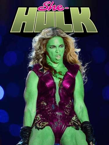 Exhibiendo sus músculos y con una coloración esmeralda, Beyoncé es la nueva cara de la versión femenina de un fornido personaje de cómics.