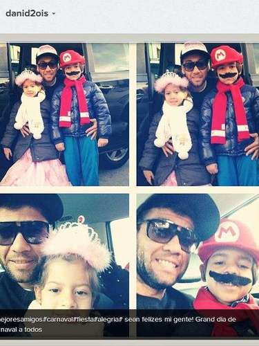 Barcelona back Dani Alves kicked off the Carnival celebration with his kids, posting this picture of their costumes on Instagram.