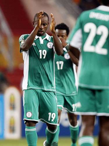 Nigeria's Sunday Mbah celebrates after scoring against Burkina Faso.