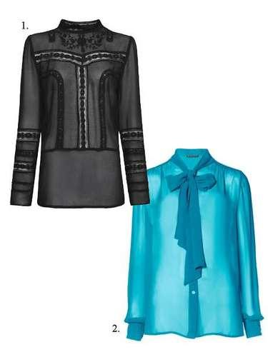 Entre blusas anda el juego: 1. Blusón de Mango (12,99 euros). 2. Camisa de Sisley con lazada (49,95 euros).