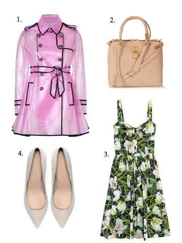 Transparencias incluso bajo la lluvia: 1. Trench rosado de Valentino RED (625 euros). 2. Bolso Mini Sienna de Topshop (98 euros). 3. Vestido de Óscar de la Renta para Net-a-porter (c.p.v.). 4. Zapatos de tacón medio de Zara (39,95 euros).