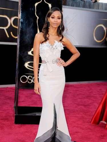Zoe Saldanatambién apostó a los diamantes en la edició 85 de los Oscar.