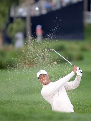 Tiger Woods of the U.S. hits the ball out of a bunker during the first round play in the Honda Classic PGA golf tournament in Palm Beach Gardens, Florida February 28, 2013.