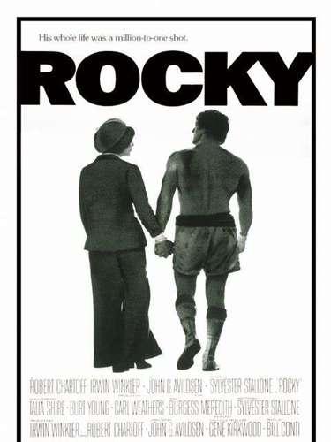 Rocky (1976): Pese a que ha generado 5 secuelas, es el filme original el que se convirtió en un clásico. Escrita y protagonizada por Sylvester Stallone y dirigida por John G. Avildsen, cuenta la historia del italo-estadounidense Rocky Balboa, quien tiene talento para el boxeo, lo que lo lleva a tener la oportunidad única de pelear por el título de los pesos pesados.