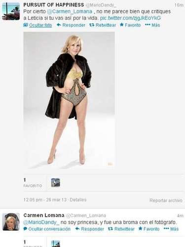 Algunos internautas no han aceptado de buen agrado el comentario de Carmen Lomana. Uno de sus seguidores le ha contestado con esta foto.